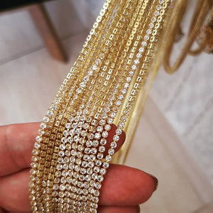 "17"" inch Tennis Riviera Crystal Necklace  18k Gold Plated CZ"