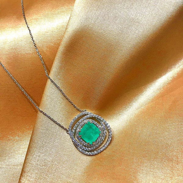 Fancy Colombian Emerald Spiral Necklace