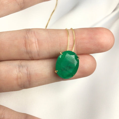 Oval Emerald Necklace 18k Gold Plated