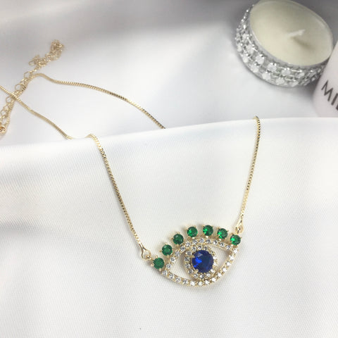 Evil Eye Necklace Emerald, Blue Sapphire cz 18k Gold Plated