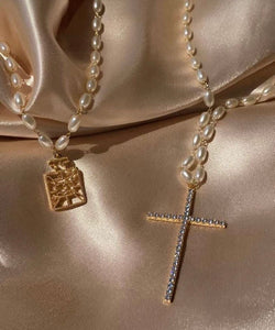 Famous Brand Inspired Perfume Necklace 18k Gold Necklace and Rice Pearl