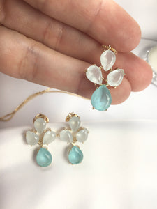Set Delicate Aquamarine Fusion Stone 18k Gold Plated