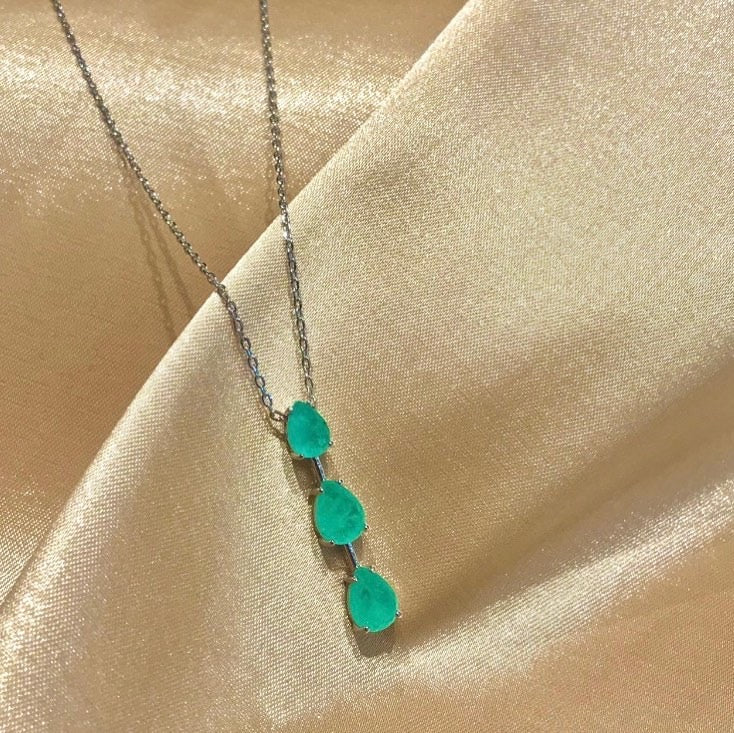 Delicate Trio Colombian Emerald Necklace