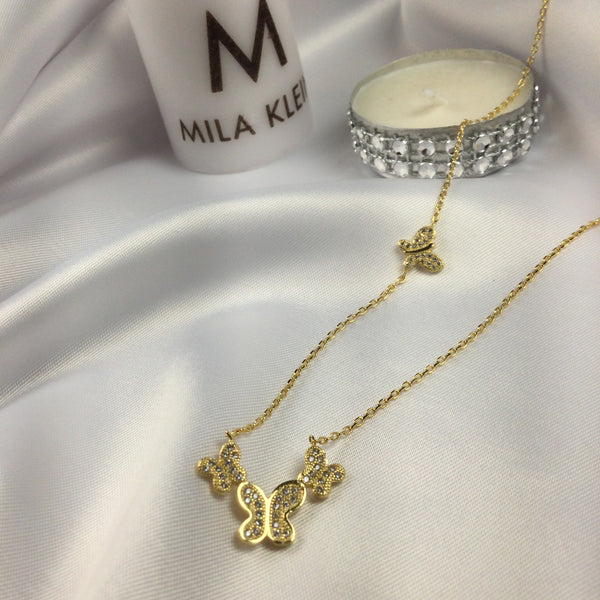 Delicate Butterfly Necklace 18k Gold Plated and Diamondettes