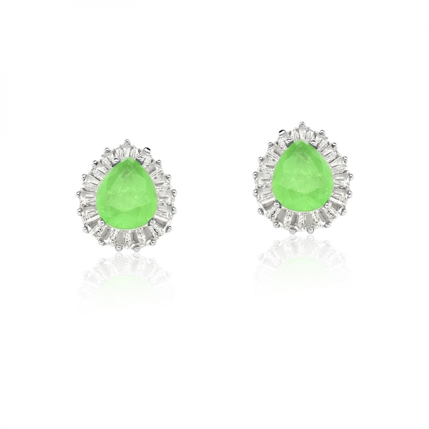 Earring drop shape green glow and zirconia