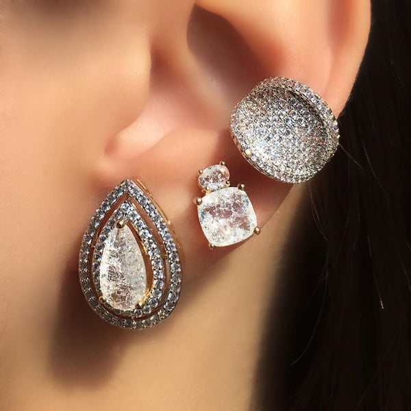 Earring Oval and Square Crystal Stone 18k Gold Plated