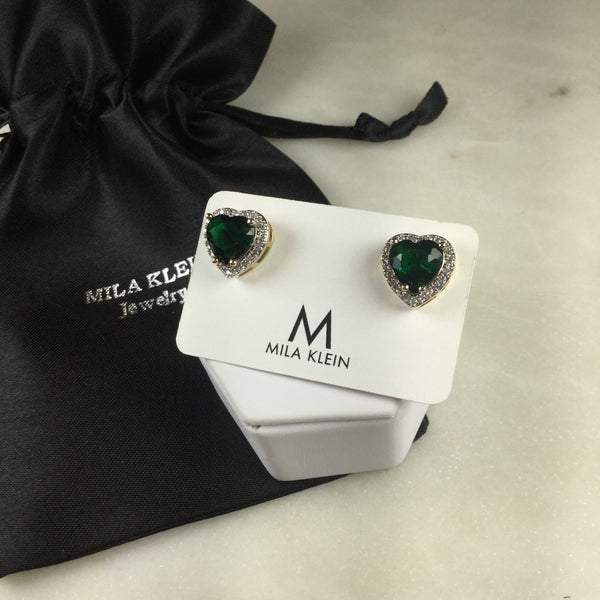 Emerald fusion Heart Earring 18k Gold Plated