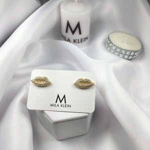 Lip Studded Earrings 18k Gold Plated and Diamondettes