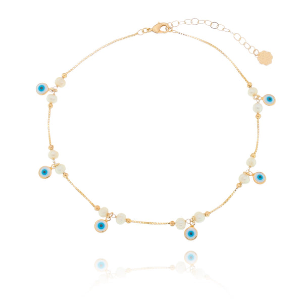 Evil Eye and Freshwater Pearl Choker 18K Gold Plated