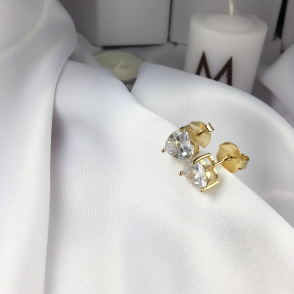 Heart Studded Earrings 18k Gold Plated