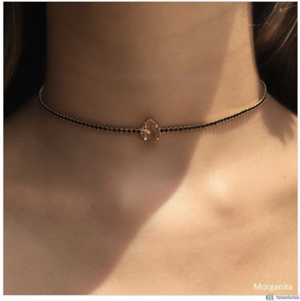 Set Black choker and Earrings riviera 18k gold plated morganite