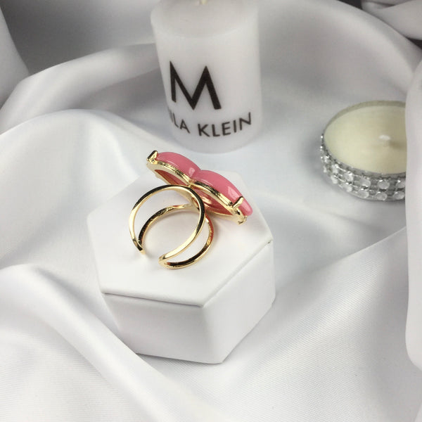 Pink Lip Adjustable Ring 18k Gold Plated