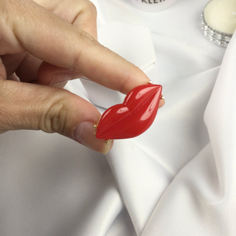 Red Lip Adjustable Ring 18k Gold Plated