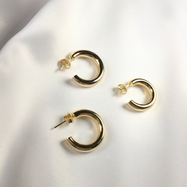 Trendy Hoop Earrings 18K Gold Plated