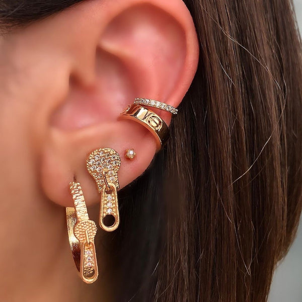 Delicate One Side Clip on Ear Cuff and Diamondettes