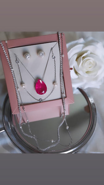 SET Drop Shape Necklace Pink Ruby Stone