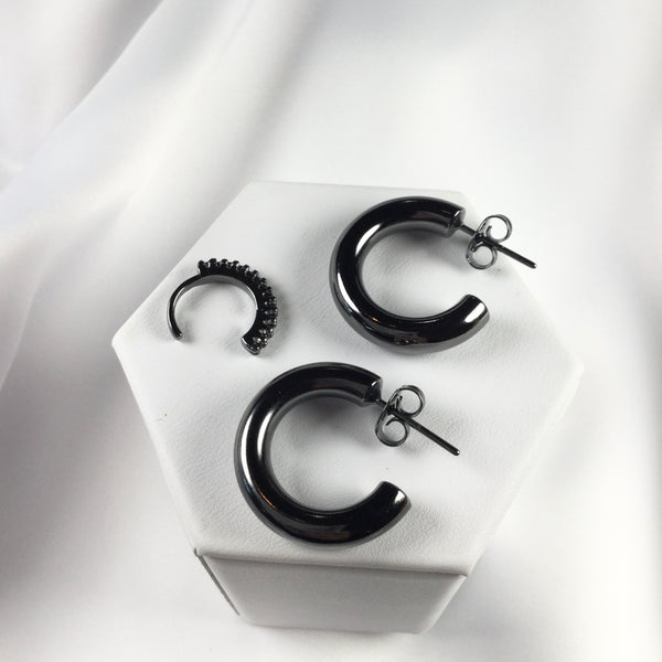 SET S Black Rhodium Hoop Earrings and Ear Cuff