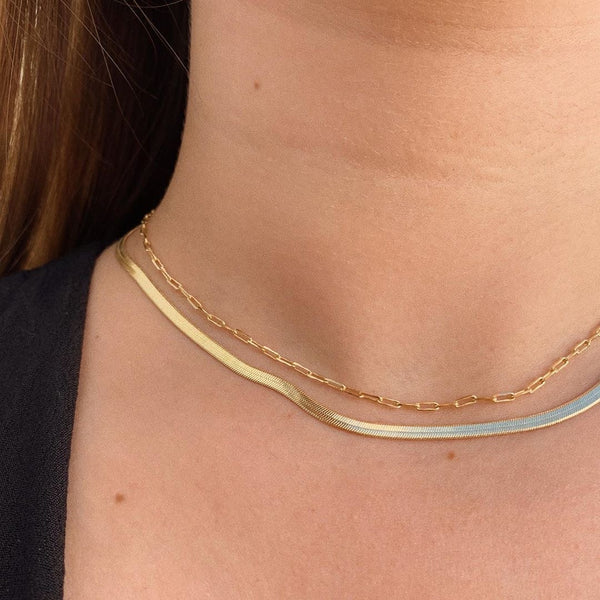 Herringbone Chain Choker Necklace 18k Gold Plated