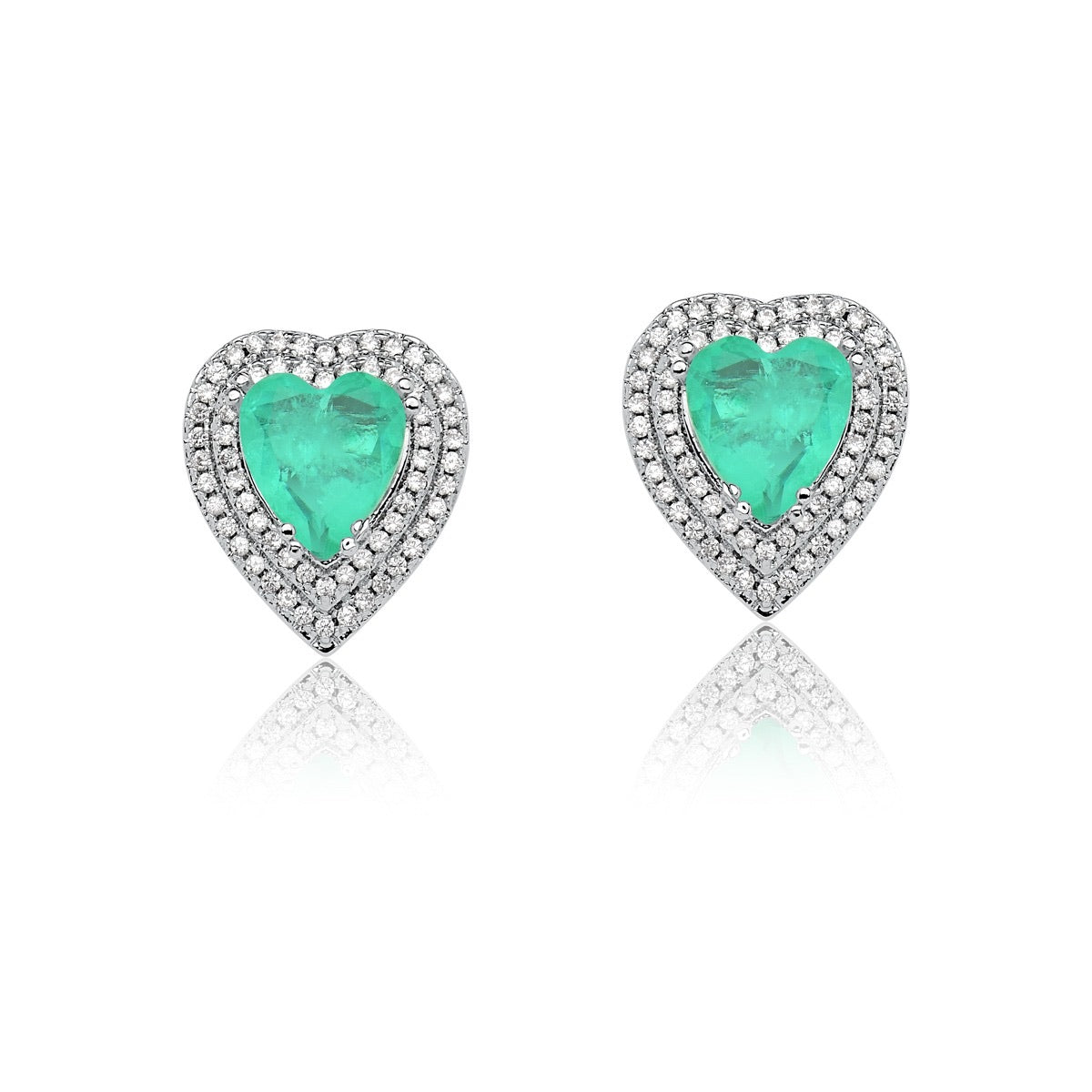 Heart Earrings Colombian Emerald fusion diamondettes