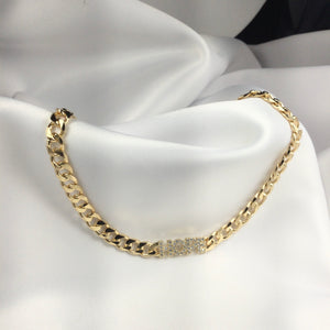 HOPE Cuban Link Choker Necklace 18k Gold Plated Diamondettes