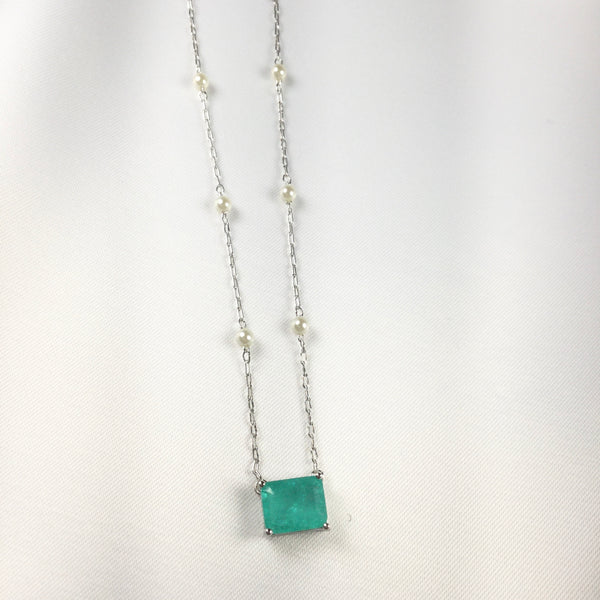 Rectangle Small Blue tourmaline Necklace and Pearl