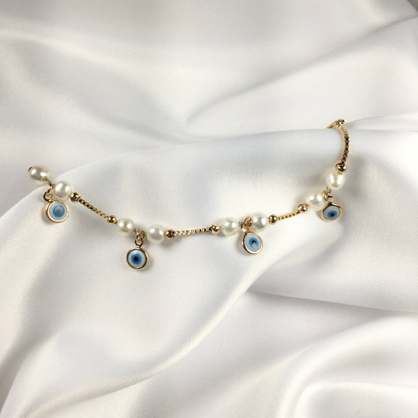 Evil Eye and Freshwater Pearl Bracelet 18K Gold Plated