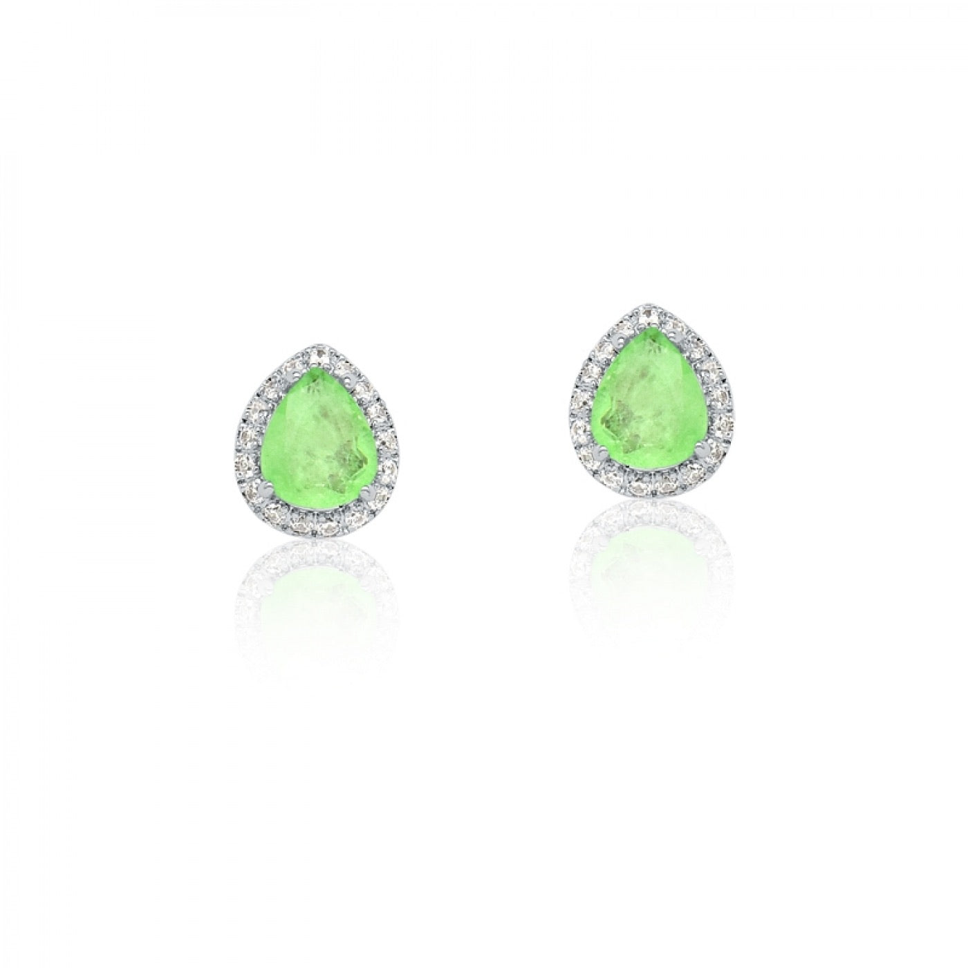 Earring Drop shape green glow Fusion and Zirconia