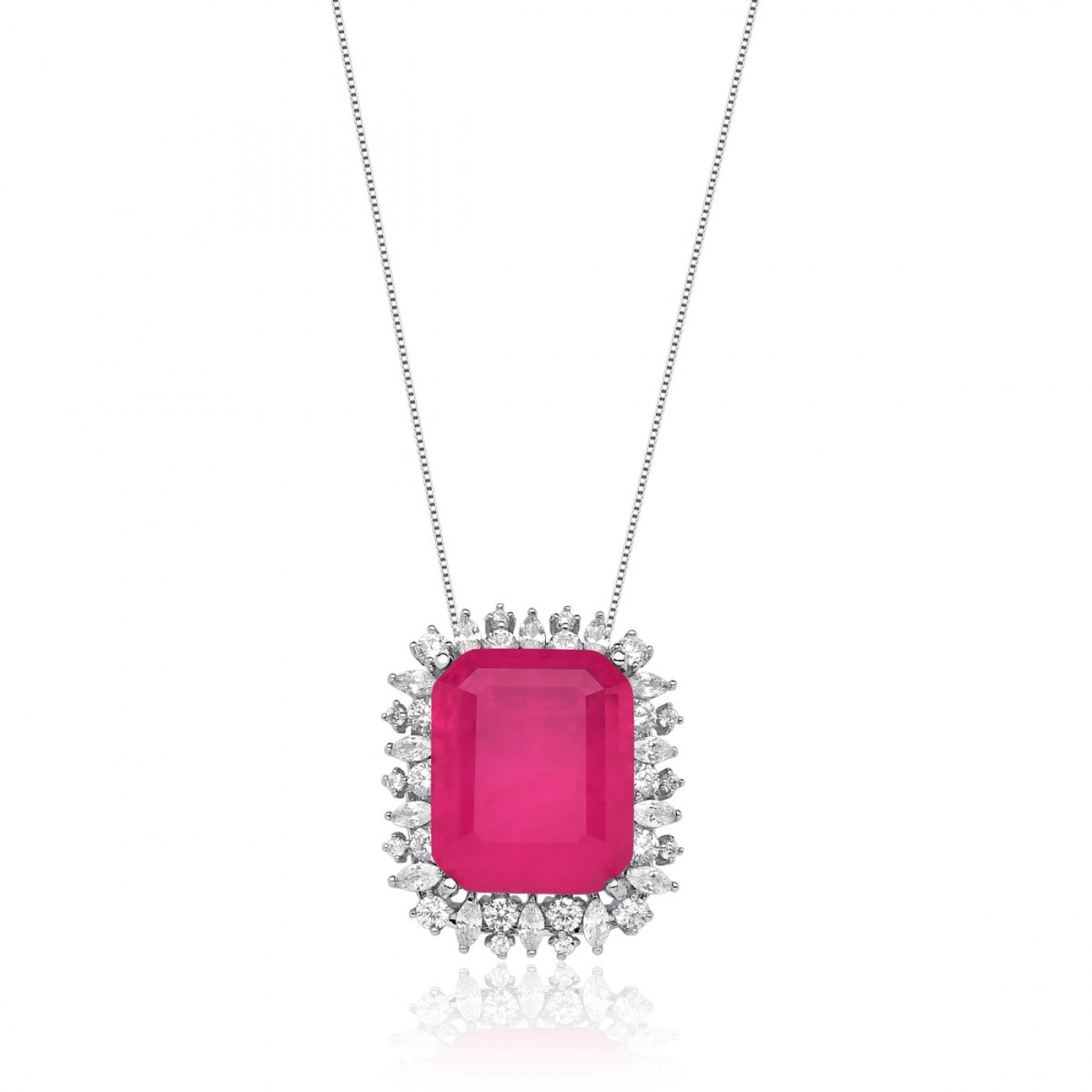 Rectangle Pink Tourmaline Necklace