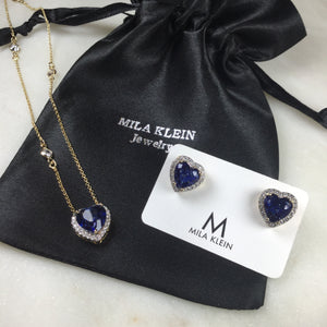 Set Sapphire Inspired  Heart  necklace  and Earrings 18k Gold plated