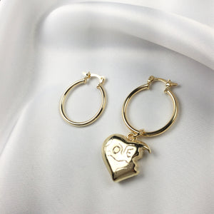 Gold - Heart Bite Love Hoop Earrings 18k Gold Plated