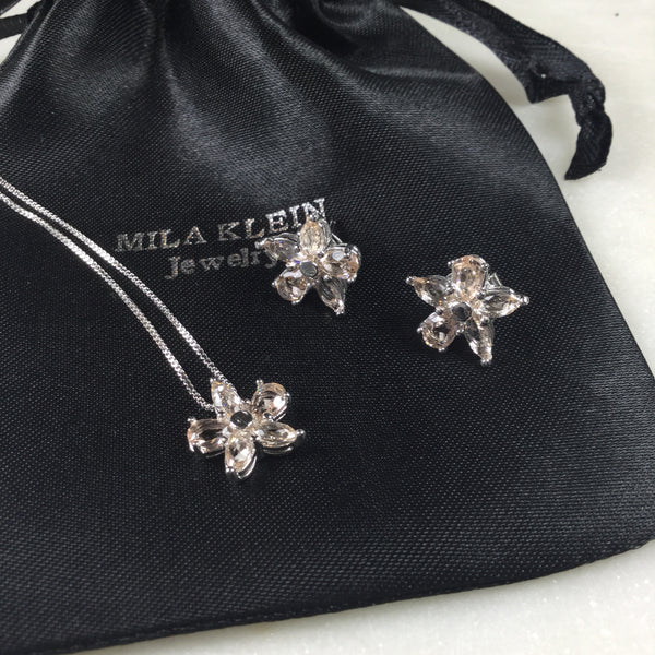 Set Morganite Flower Earrings and Necklace White Rhodium