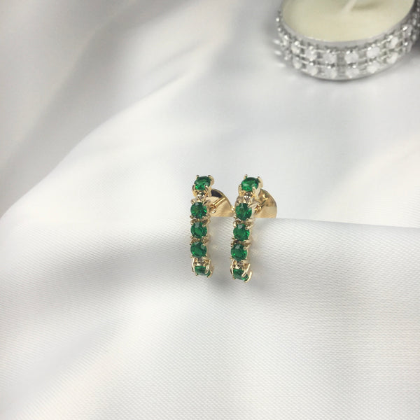 Emerald cz Earrings Ear Hook 18k Gold Plated