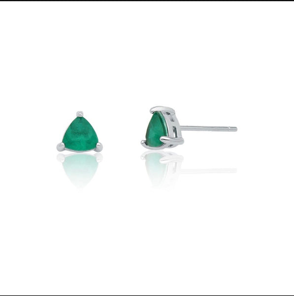 Mini triangle emerald fusion earring