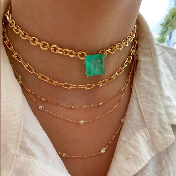 Choker 18k gold plated Colombian emerald - Mila Klein