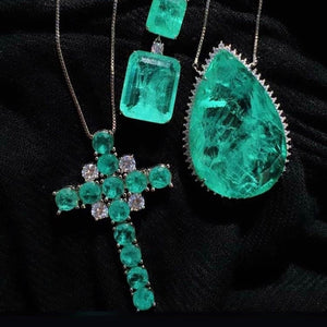 SET Cross Necklace Emerald Colombian fusion and crystal
