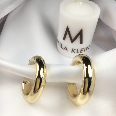 Tube Hoop Earrings 18K Gold Plated