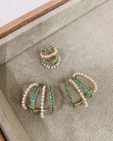 Green Tourmaline Ear Cuff 18k Gold Plated Pearls cz and fusion stone