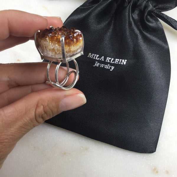 Statement Citrine silver plated wire ring adjustable