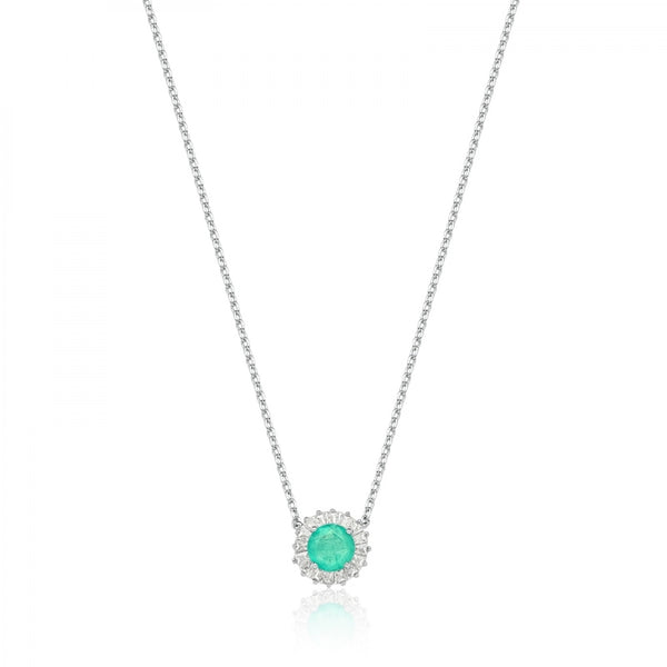 Necklace circle Colombian emerald fusion and baguettes