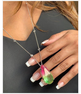 Long Watermelon Tourmaline Fusion Necklace