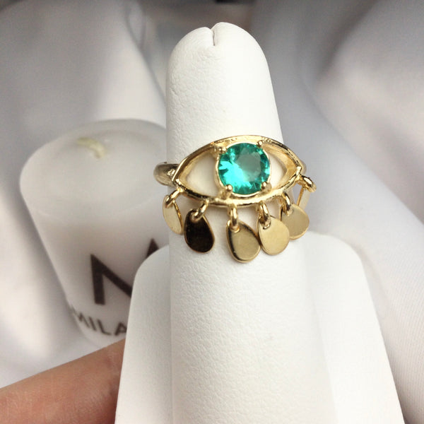 Gypsy Ring Emerald Crystal 18K Gold Plated Adjustable