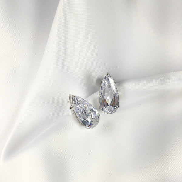 Fancy Pear Shape stud earrings clear Crystal