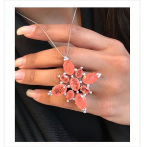 Stunning Orange Fusion Necklace Premium CZ