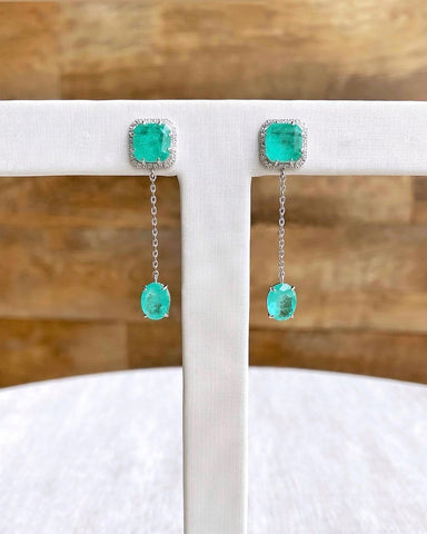 Fancy Earrings Colombian Emerald and Diamondettes