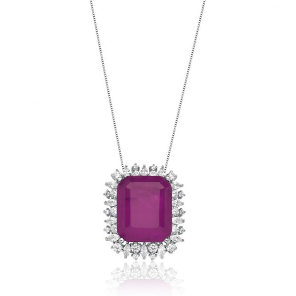 Rectangle Pink Ruby fusion stone necklace