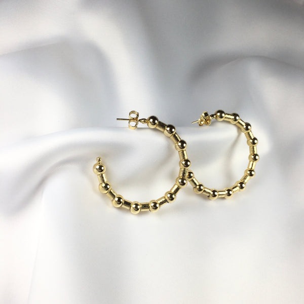 "Spheres hoop Earrings 18K gold plated 1,75"" inch"