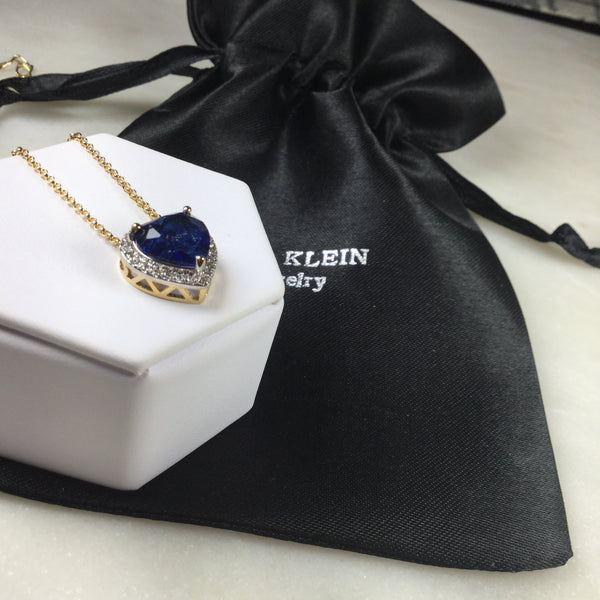Sapphire fusion Heart Tiffany necklace 18k Gold plated