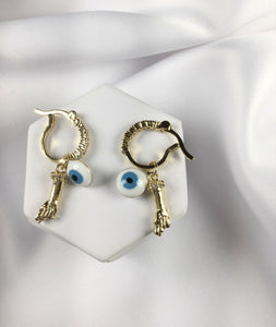 Lucky evil eye charm  earrings 18K Gold Plated