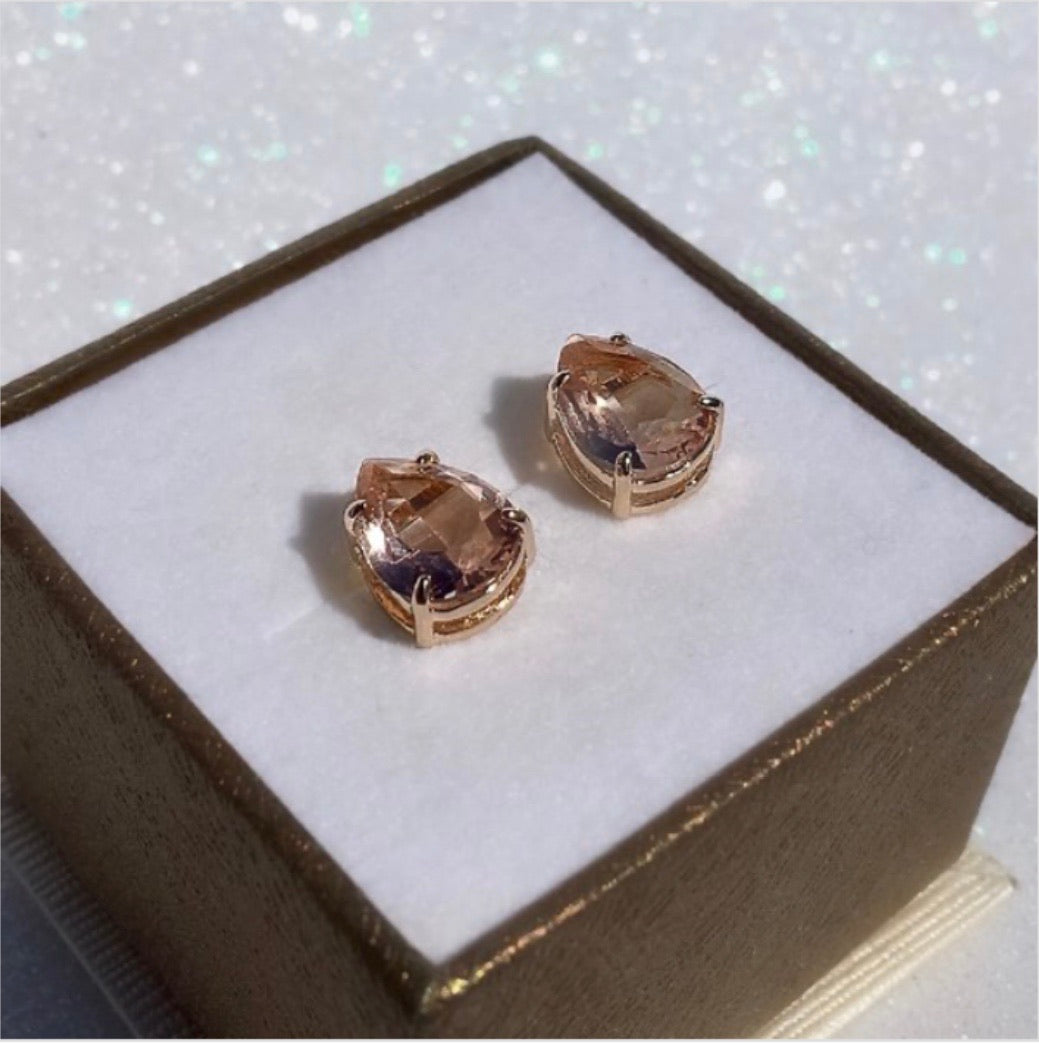 Medium drop crystal earrings morganite 18k gold plated