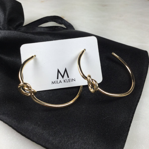 Delicate Knot Hoop Earrings 18K Gold Plated